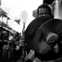 NEW ORLEANS, LA., April 13- James Watson plays the cymbals along Burbon Street for an ever present crowd of fans. The popular destination attracts tourists and musicials from around the world.