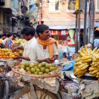 Kathmandu, Nepal- Fruit vendors on the busy streets of Kathmandu, Nepal.