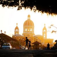 Sunset in downtown Granada, Nicaragua