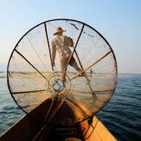 conical fisherman in Inle Lake, Myanmar.