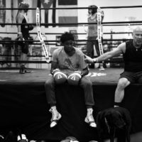 BOULDER, CO., - PivotDesk CEO David Mandell, right, gives his sparring partner Zakiyy Lucas, 16, a pat on the back after a grueling working out at the Corner Boxing Club. Mandela is training for the May 20th Founders Fight being held at New Vista High School.