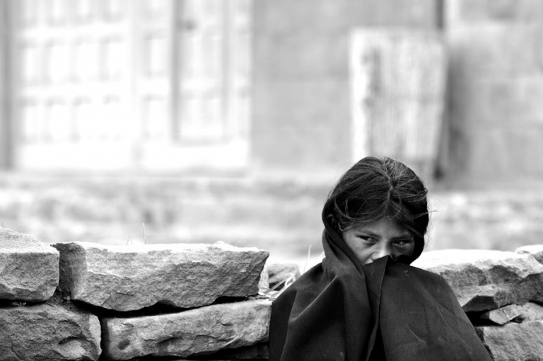 Peru travel photos of a Girl on Tequille Island on Lake Titicaca in Peru. Kira Vos (Horvath)